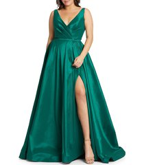 mac duggal women's plus surplice taffeta gown - royal purple - size 14w