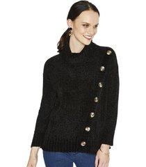 sweater manga larga liso negro curvi