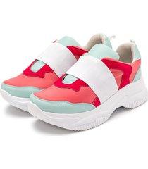 tênis sneakers chuncky elástico em napa rosa bebe com napa azul bebe - kanui