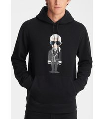 men's soft cotton hoodie with karl character print with chain necklace