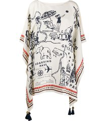 tory burch travel print cape dress - neutrals