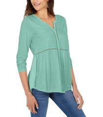 style & co v-neck mixed woven top, created for macy's