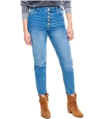 straight jeans high waist con botonadura externa - eco recycle color blue