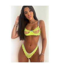 conjunto lingerie neon mdmix renda e tule com transparência sexy amarelo