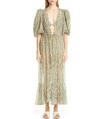 women's johanna ortiz print puff sleeve cover-up dress
