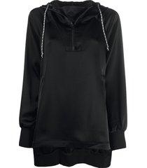 y-3 long asymmetric hoodie - black