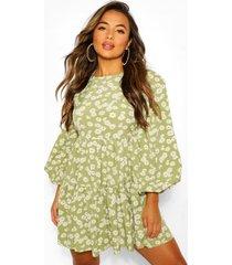 petite geweven gesmokte bloemenprint jurk met laagjes, groen