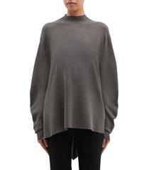 detachable back panel mock neck sweater