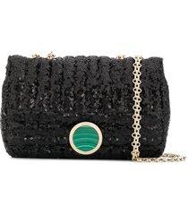 giambattista valli matelasse sequin embroidery shoulder bag - black