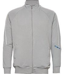 hmlamos zip jacket sweat-shirt tröja grå hummel