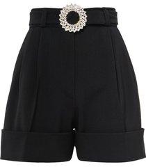 miu miu embellished-buckle shorts - black