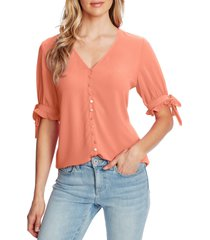 women's cece ruffle sleeve crepe blouse, size medium - coral