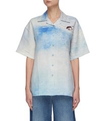 abstract landscape print shirt