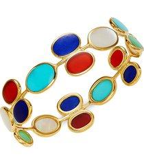 ippolita women's 18k yellow gold & multi-stone polished rock candy bangle bracelet