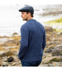 men's traditional merino wool aran sweater blue medium