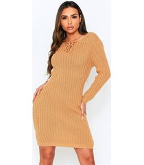 knitted tie front midi dress, camel