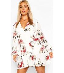 plus gesmokte bloemenprint jurk met laagjes, ivoor