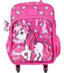 mochila infantil escolar luxcel up4you unicórnio com rodinhas feminina