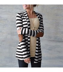 women long sleeve striped printed elbow patchwork knitted cardigan plus size