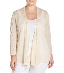plus size women's nic+zoe '4-way' three quarter sleeve convertible cardigan, size 2x - beige