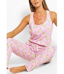 cocktail print night jumpsuit, pink