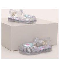 sandália infantil baby club com concha e glitter transparente