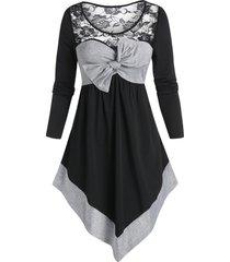 bowknot two tone lace insert longline t shirt