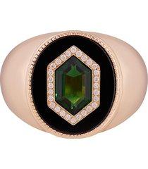 o thongthai 14kt yellow gold tsavorite diamond signet ring
