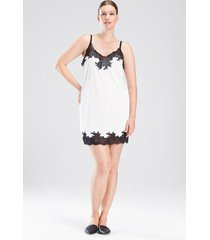 natori enchant lace trim chemise pajamas, women's, white, size 1x natori