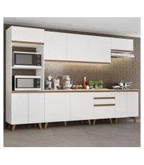 cozinha completa madesa reims 320002 com armário e balcão branco branco