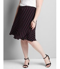 lane bryant women's knit kit striped ruffle-hem skirt 18/20 black & red stripe
