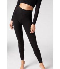 calzedonia cotton leggings woman black size xl