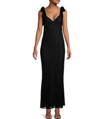 dannijo women's devoré velvet column slip gown - black - size xl
