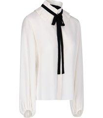 contrasting ribbon blouse
