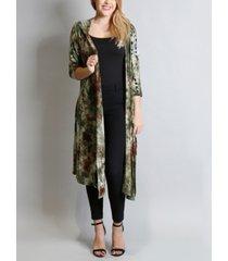 women's tie dye 3/4 sleeves hoodie duster