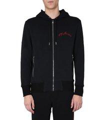 alexander mcqueen zip and hooded sweatshirt