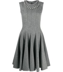 ermanno scervino embellished neck swing dress - grey