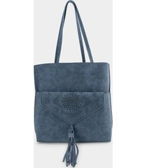 tanya perforated wide tote - navy
