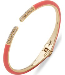 dkny gold-tone coral color cuff bracelet