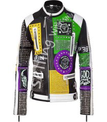 men philipp plein multicolor handmade studded embroidery patches leather jacket