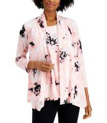 kasper floral-print open-front cardigan