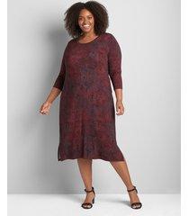 lane bryant women's 3/4-sleeve side-tie midi dress 14/16 zinfandel print