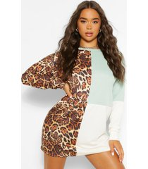 colour block dierenprint sweatshirt jurk, ecru