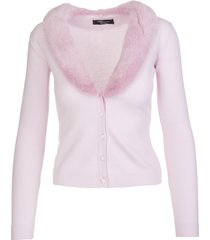 blumarine pink cardigan with mink collar