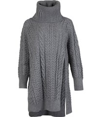 slitted cable-knit turtle neck sweater light grey