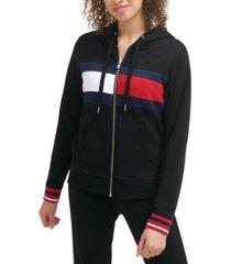tommy hilfiger sport women's flag color block zip up terry hoodie
