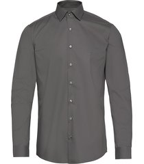 2ply poplin stretch slim shirt overhemd business grijs calvin klein