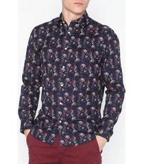 premium by jack & jones jprbruxelles print shirt l/s skjortor mörk röd