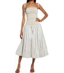 amy lynn tie shoulder midi dress, size large in light grey at nordstrom