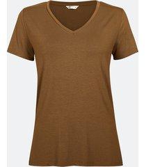 kortärmad t-shirt med v-ringning - ljusrosa